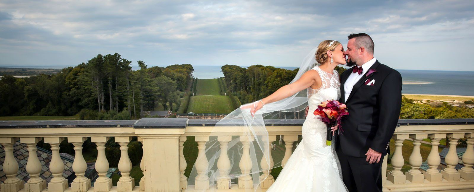 Bride and groom at the Crane Estate